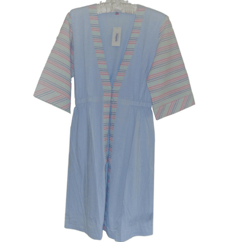 Slenderella Dressing Gown Cotton Blend Jersey with Cotton Stripe Contrast Housecoat - Blue or Pink