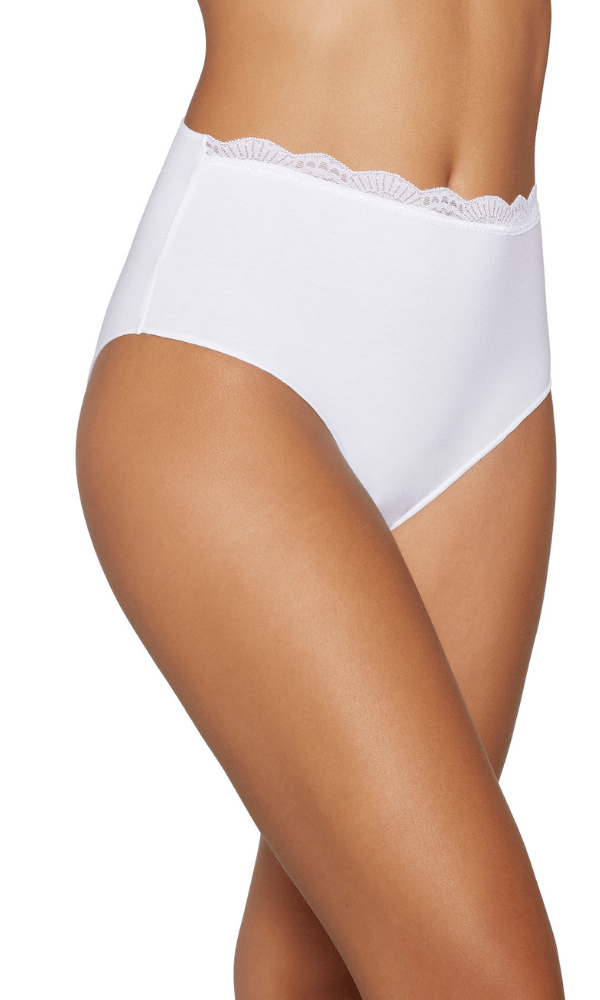 Ysabel Mora Briefs Lace Edged Elastic Cotton Maxi Panty - White - Black - Nude