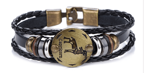 Image of 12 Zodiac Sign - Gallstone & Leather Bracelet - LifeSpirit | Sidi Life Products - Accessories - #collection_type#