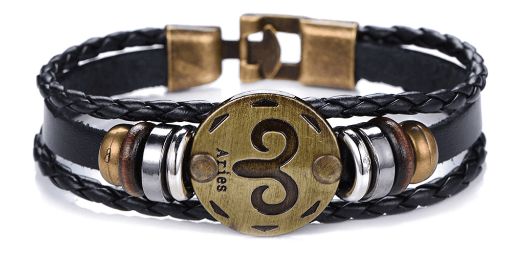 12 Zodiac Sign - Gallstone & Leather Bracelet - LifeSpirit | Sidi Life Products - Accessories - #collection_type#