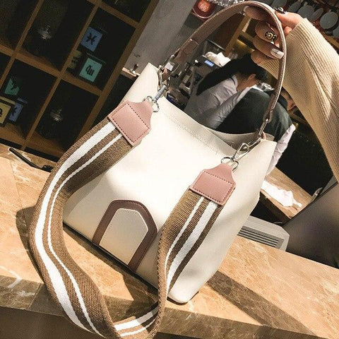 Image of 2019 Women's Bag with Wide Strap Bucket Bag Women's PU Leather Shoulder Bags Ladies Crossbody Messenger Bags Fashion Casual Bag - LifeSpirit | Sidi Life Products - - #collection_type#