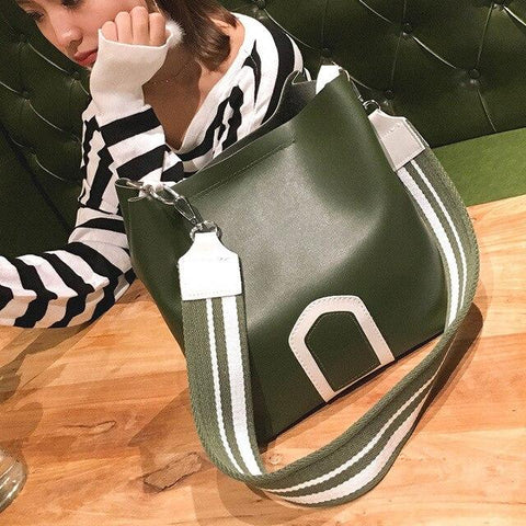2019 Women's Bag with Wide Strap Bucket Bag Women's PU Leather Shoulder Bags Ladies Crossbody Messenger Bags Fashion Casual Bag - LifeSpirit | Sidi Life Products - - #collection_type#