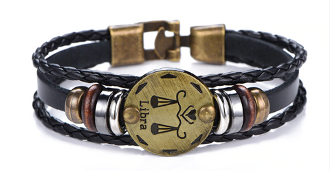Image of 12 Zodiac Sign - Gallstone & Leather Bracelet