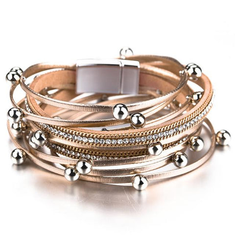 ALLYES Multilayer Leather Bracelets for Women Femme Crystal Metal Beads Charm Bohemian Wrap Bracelet Female Jewelry - LifeSpirit | Sidi Life Products - - #collection_type#