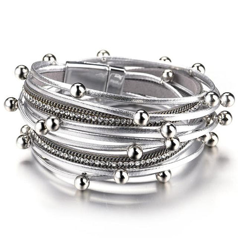 Image of ALLYES Multilayer Leather Bracelets for Women Femme Crystal Metal Beads Charm Bohemian Wrap Bracelet Female Jewelry - LifeSpirit | Sidi Life Products - - #collection_type#