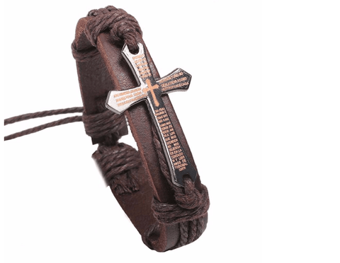 Boss Leather Cross Bracelet