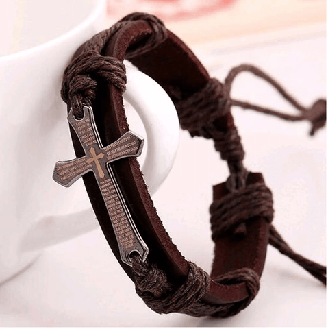 Image of Leather Cross Bracelet Unisex (B2G1 FREE GIFT) - LifeSpirit | Sidi Life Products - Accessories - #collection_type#