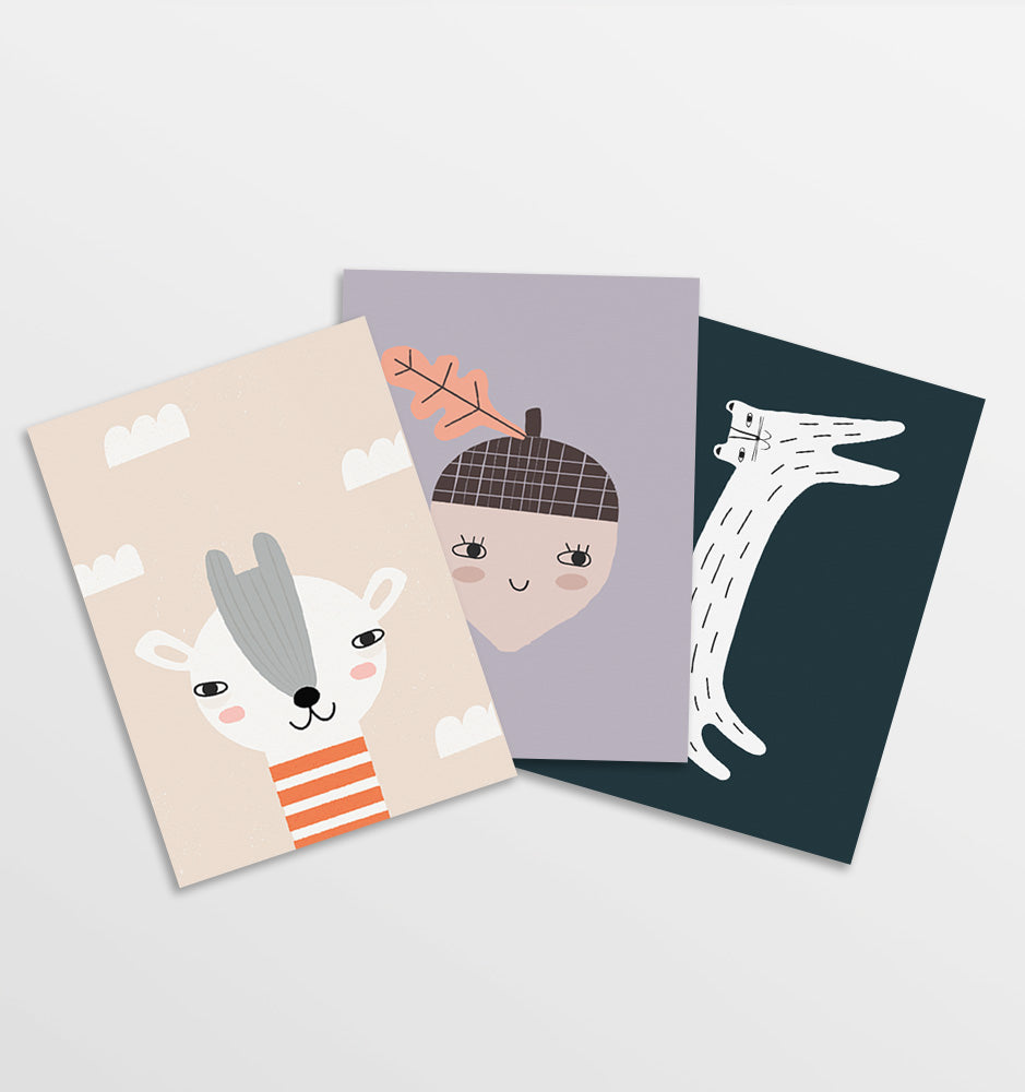 Set of 3 Prints: Giraffe, Acorn, Cat