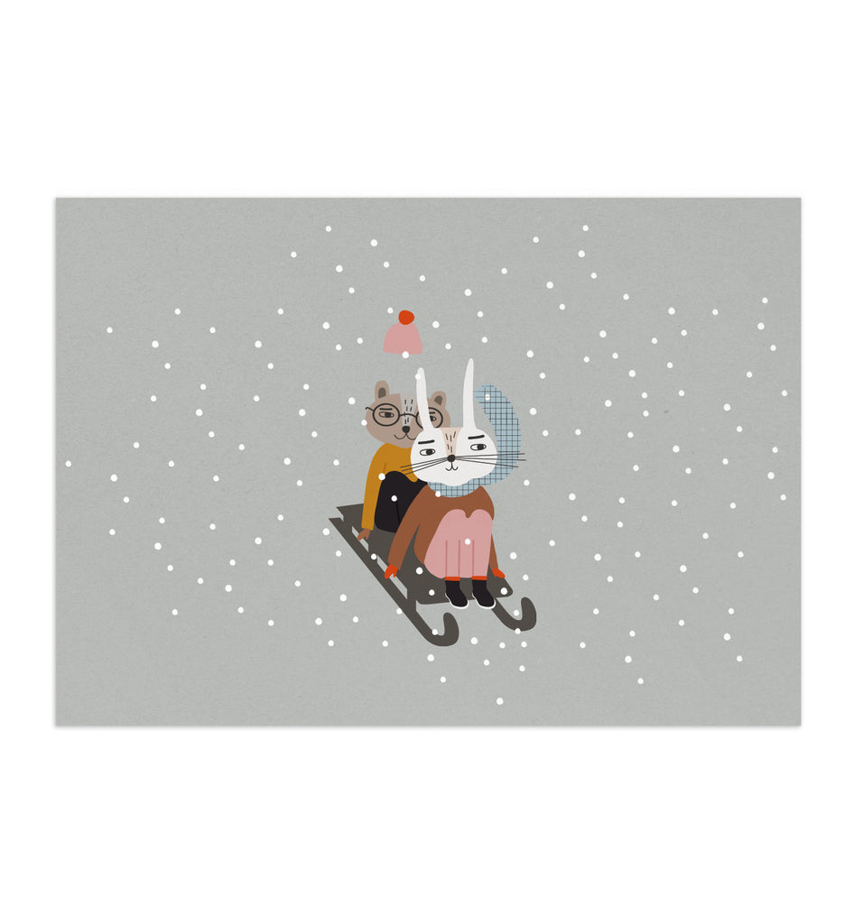 Otja And Lorem Go Sledding Art Print