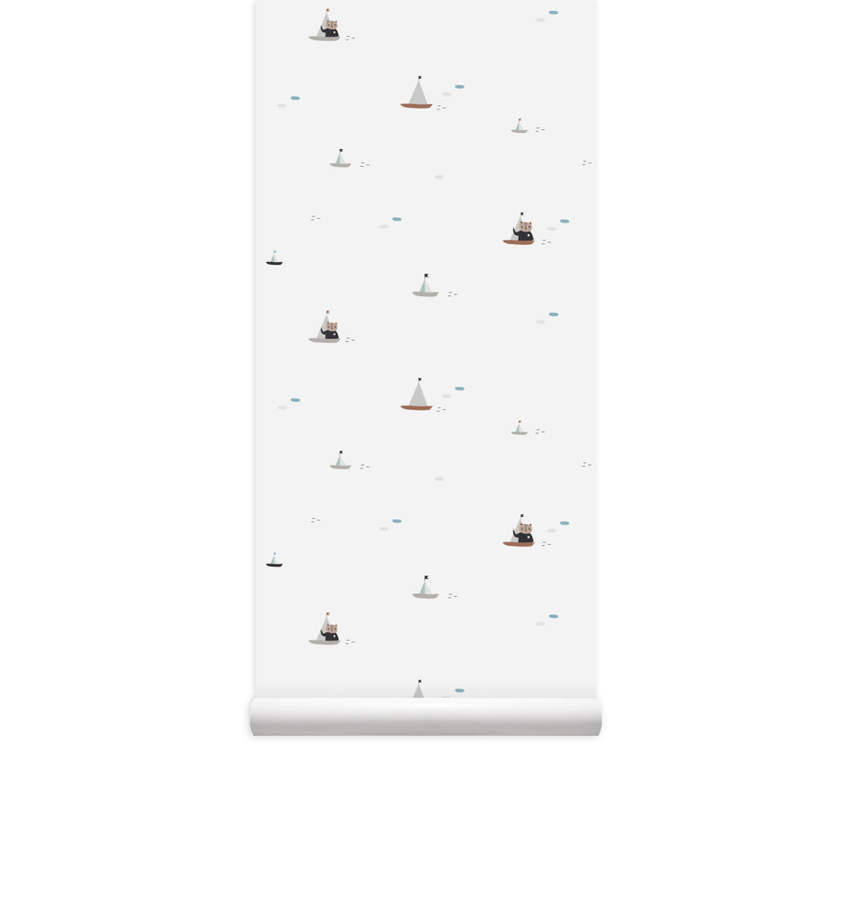 Sailing Bear Eco-friendly Wallpaper PVC-Free