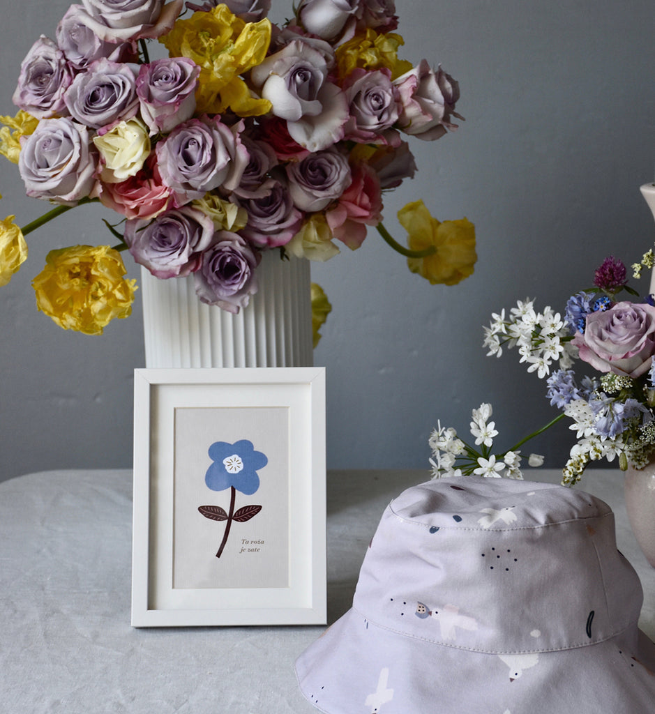 Blue Flower Card with Frame