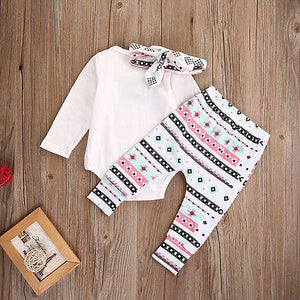 Elephant Romper, Pants & Headband 3pcs Set