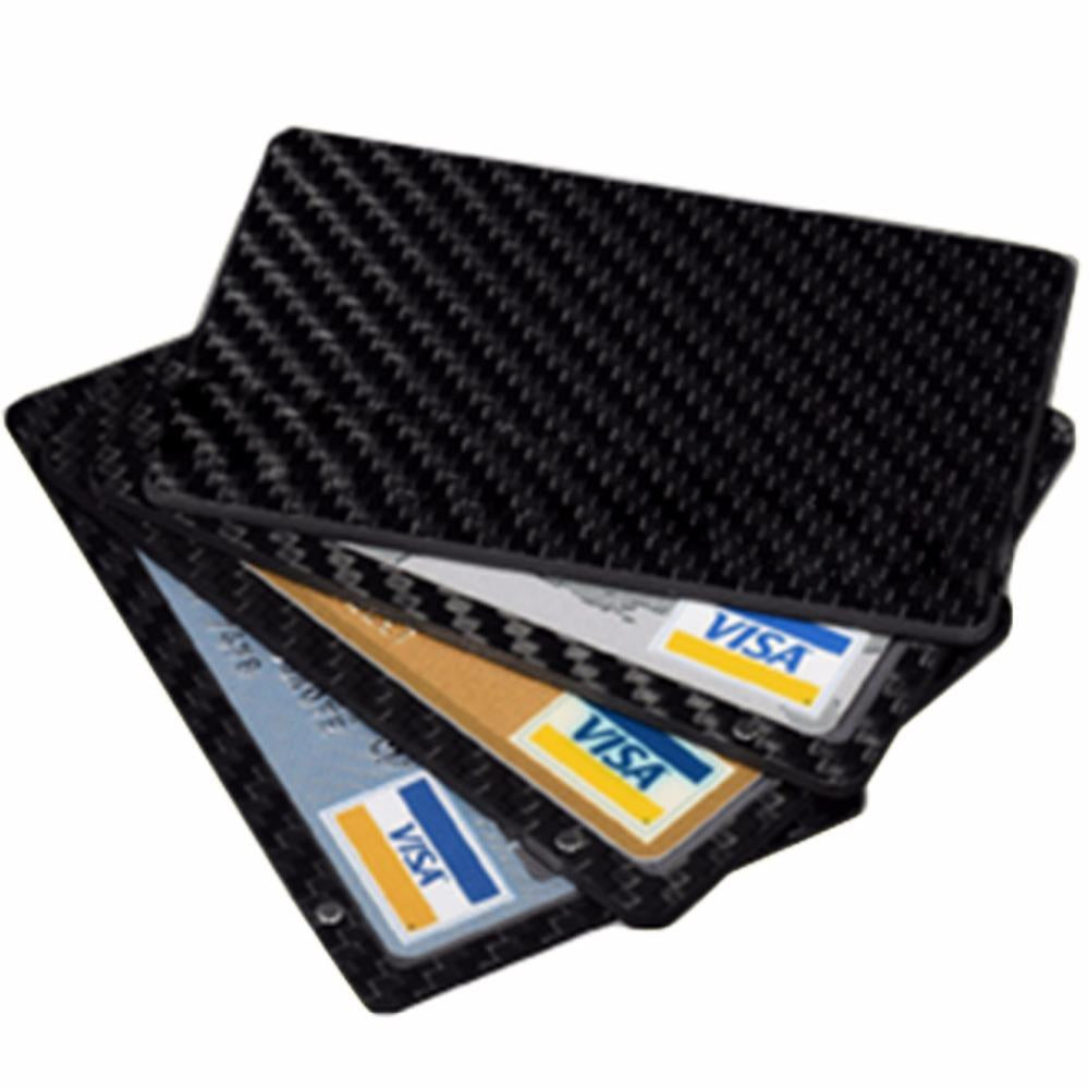 Real Carbon Fiber Magnetic Card Holder Wallet - 4 Layer