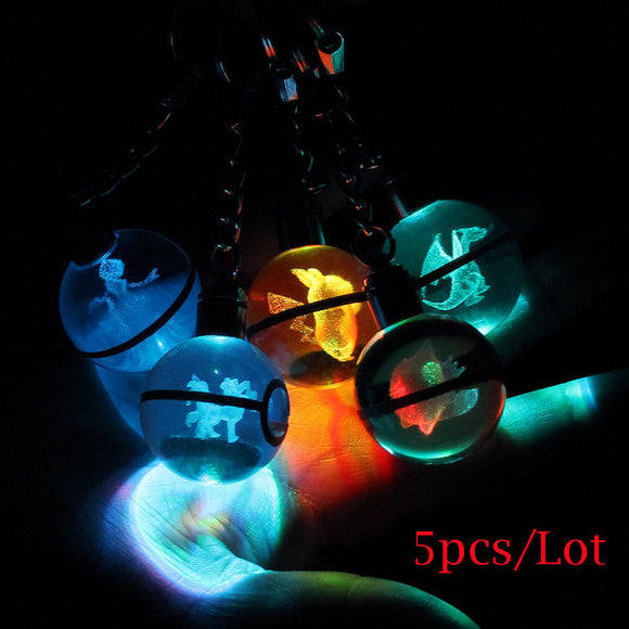 5pcs/Lot Pokemon Go Engraving Round 3D Crystal Ball LED Keychain