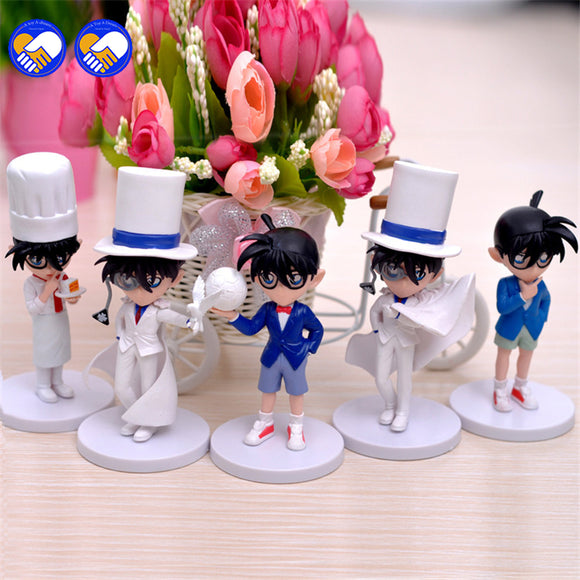 5pcs/set Detective Conan with Cloak Stylish 10cm