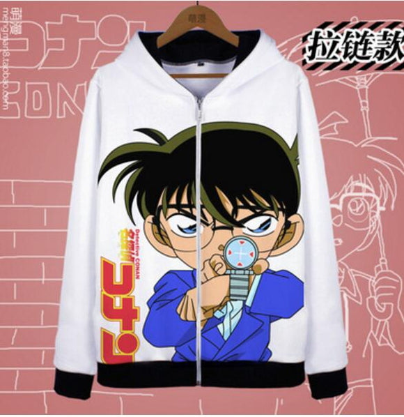 Detective Conan Kaito Kid The Phantom Thief zipper fleece jacket hoodie