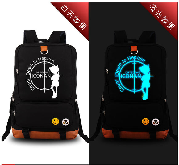 Detective Conan Luminous Travel Canvas Kids Fashion Printing School Bags
