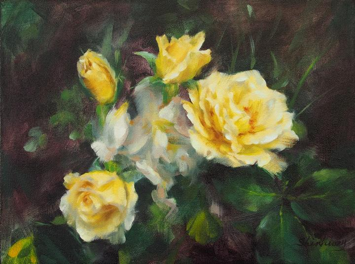 rose painting yellow shinhuey ho sherry ho