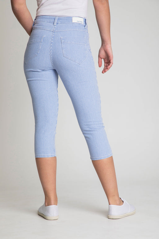 Capri denim extensible fines rayures Emily