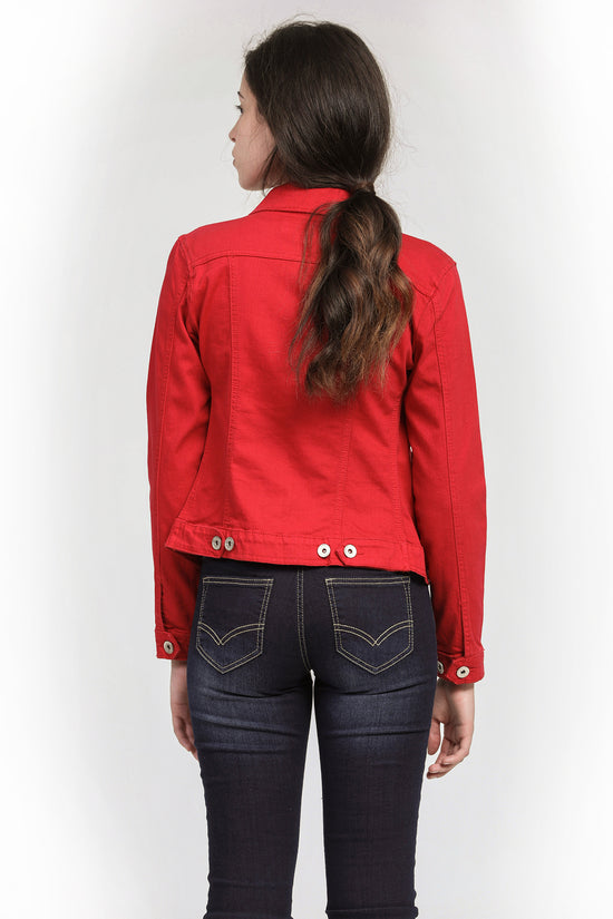 Veste denim extensible rouge
