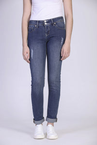 Jeans skinny extensible usé Mia