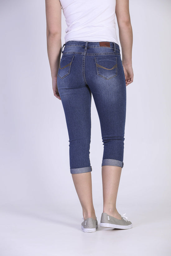 Capri denim extensible délavé