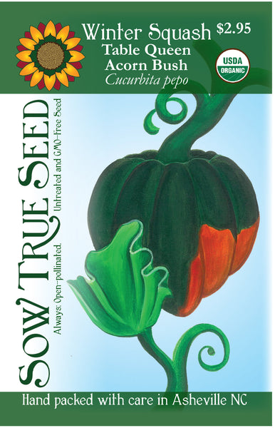Artist designed packets of USDA organic Table Queen Bush Acorn Winter Squash from Sow True Seed Asheville, NC.