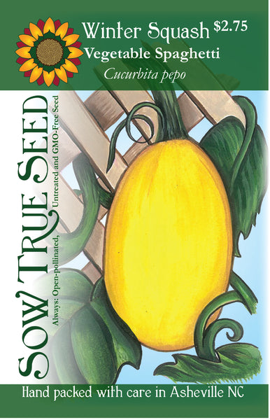 Artist designed packets of Vegetable spaghetti Winter Squash from Sow True Seed Asheville NC.