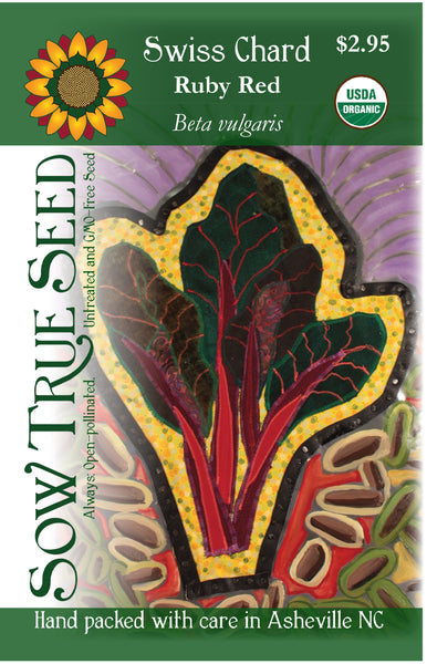 Artist designed packets of USDA organic Ruby Red Swiss Chard from Sow True Seed Asheville NC.
