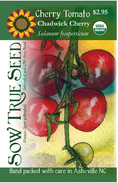 Artist designed packets of USDA organic Chadwick Cherry Tomato from Sow True Seed Asheville NC.