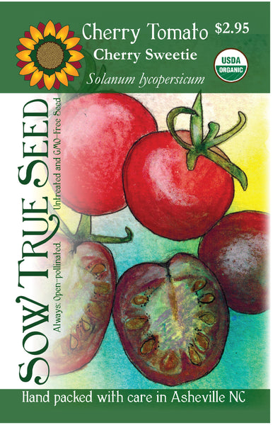 Artist designed packets of USDA organic Cherry Sweetie Cherry Tomato from Sow True Seed Asheville NC.