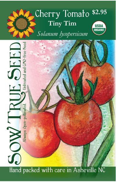 Artist designed packets of USDA organic Tiny Tim Cherry Tomato from Sow True Seed Asheville NC.