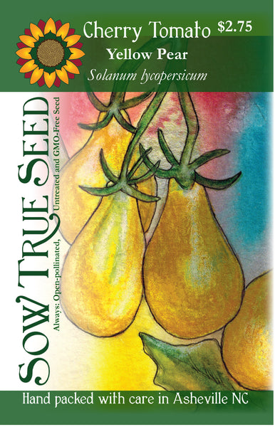 Artist designed packets of Yellow Pear Cherry Tomato from Sow True Seed Asheville NC.
