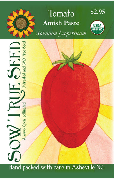 Artist designed packets of USDA organic Amish Paste Tomato from Sow True Seed Asheville NC.