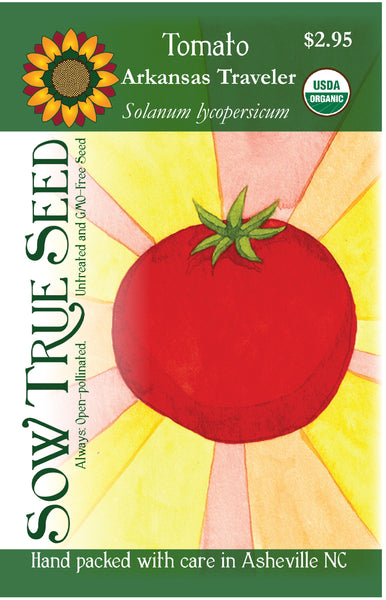 Artist designed packets of USDA organic Arkansas Traveler Tomato from Sow True Seed Asheville NC.