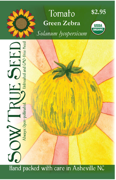 Artist designed packets of USDA organic Green Zebra Tomato from Sow True Seed Asheville NC.