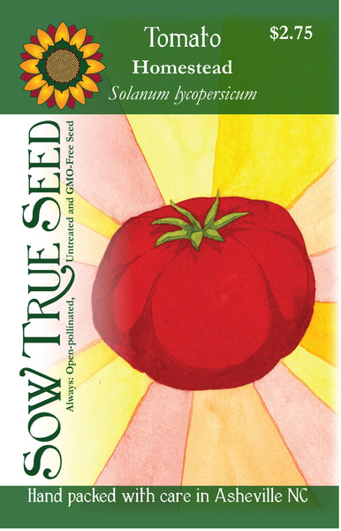 Artist designed packets of Homestead Tomato from Sow True Seed Asheville NC.