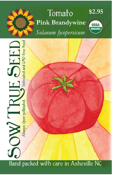 Artist designed packets of USDA organic Pink Brandywine Tomato from Sow True Seed Asheville NC.