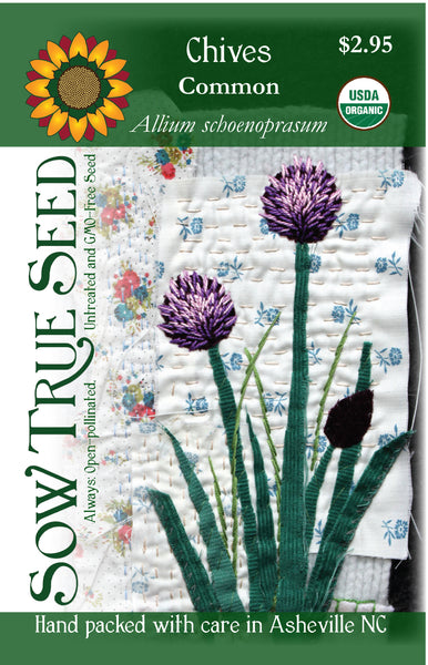Artist designed packets of USDA organic Chives from Sow True Seed Asheville NC.
