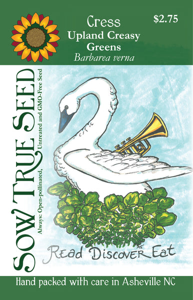 Artist packet design of upland creasy greens from Sow True Seed Asheville NC.