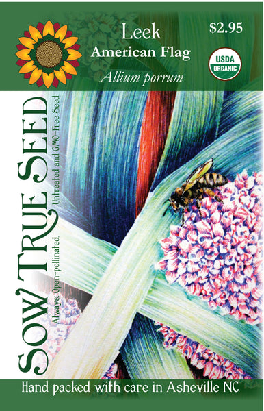 Artist designed packets of USDA organic American Flag Leek from Sow True Seed Asheville NC.