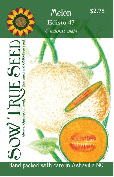 Artist designed packets of Edisto 47 melon from Sow True Seed Asheville NC.