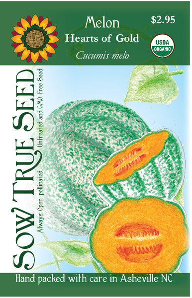 Artist designed packets of USDA organic Hearts of Gold Melon from Sow True Seed Asheville NC.