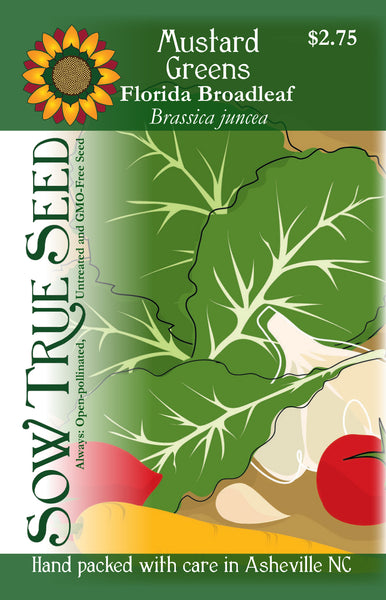 Artist designed packets of Florida Broadleaf Mustard Greens from Sow True Seed Asheville NC.