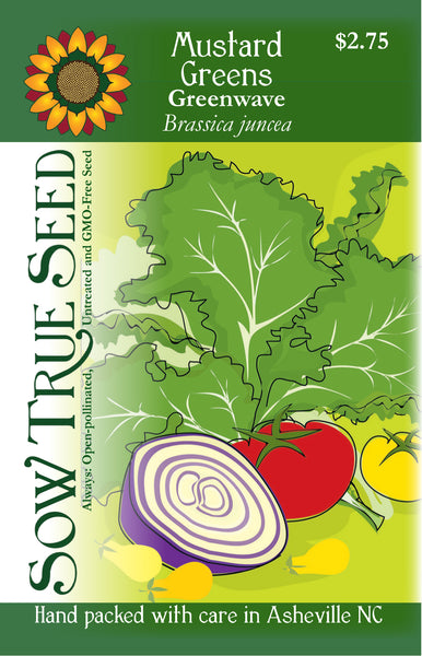 Artist designed packets of Greenwave Mustard Greens from Sow True Seed Asheville NC.