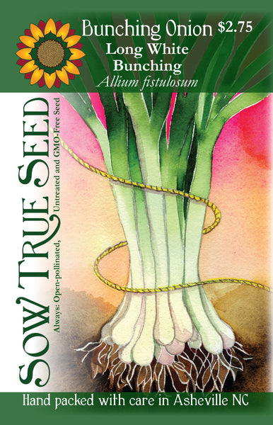 Artist designed packets of Long White Bunching Onions  from Sow True Seed Asheville NC.