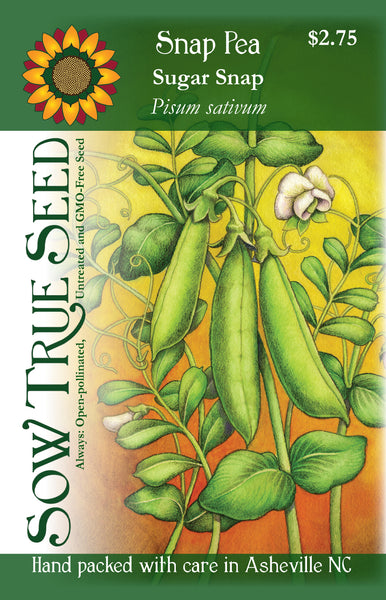 Artist designed packets of sugar snap peas from Sow True Seed Asheville, NC.