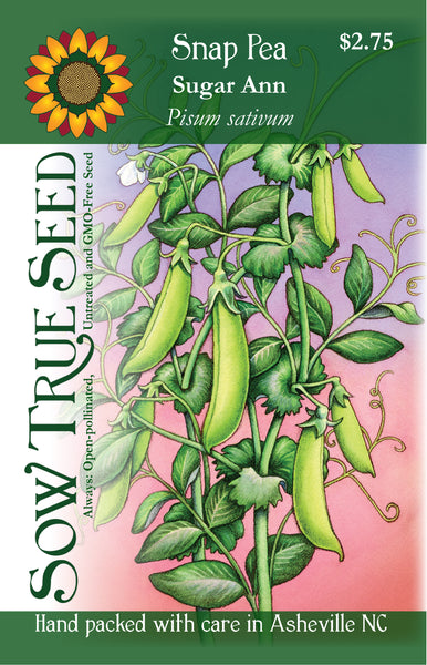 Artist designed packets of sugar ann snap pea from Sow True Seed Asheville NC.