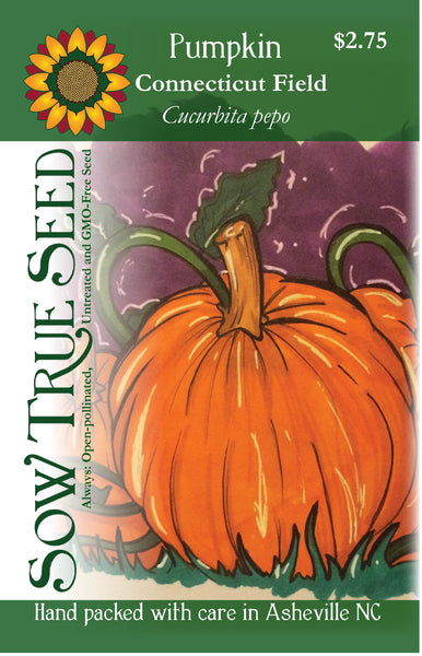 Artist designed packets of Connecticut field pumpkin from Sow True Seed Asheville NC.