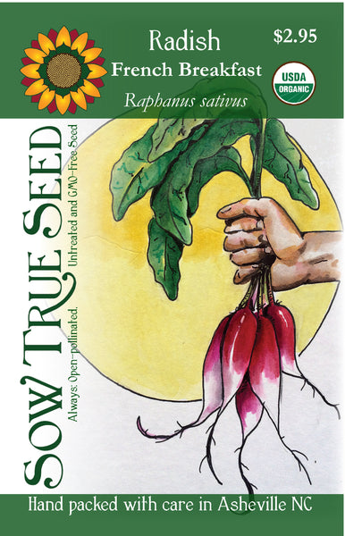 french breakfast radish long bi-colored mild taste, often eaten on toast with butter in France, seed packet artwork from Sow True Seed Asheville NC.
